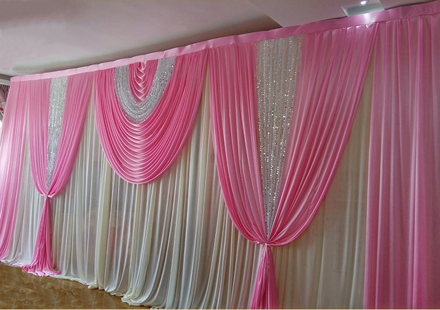 10ft20ft Hot Pink With Shiny Silver Sequin Swag Wedding Backdrop