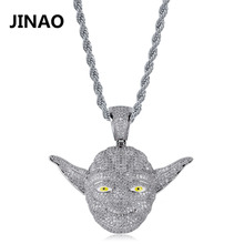 Fashion Cubic Zircon Iced Out Chain Movies Star Wars 3D Master Yoda Pendant Necklace Hip Hop Jewelry Statement Necklaces