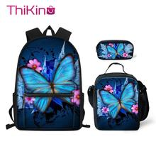 Thikin Butterfly Animals Pattern School Bags 3pcs/set for Teenagers Backpack Supplies Bookbag Lovely Satchel