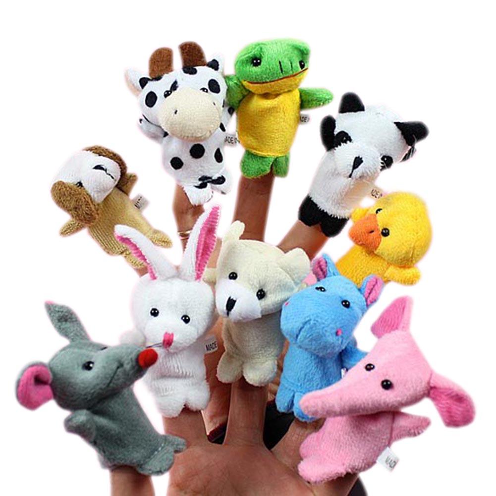 10 x Cartoon Biological Animal Finger Puppet Plush Toys Child Baby Favor Dolls B  FJ88 10pcs lot cartoon animal finger puppet finger toy finger doll baby dolls baby toys animal doll
