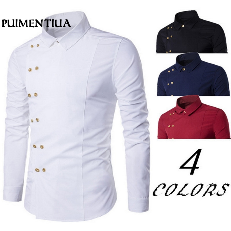 Puimentiua Plus Size 2019 Men Double Breasted Slim Fit Long Sleeve Turn Down Collar Shirt Male Solid Casual Vintage Court Style