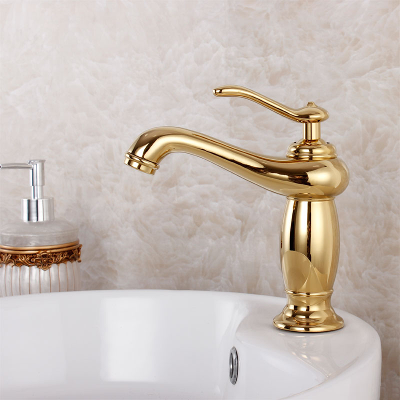 2015 New Sink Torneira Para Banheiro Fashion Quality Bathroom Copper Pure Gold Plated Faucet Vanities Counter Basin Hot Antique copper bathroom shelf basket soap dish copper storage holder silver