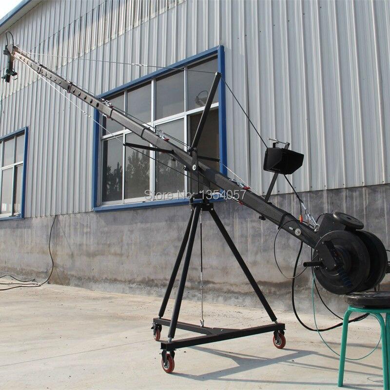 Grue à flèche 10 m 3 axes octogonale tête inclinable caméra portable grue dslr avec dolly et moniteur approvisionnement d'usine