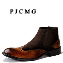 Dress PJCMG Rubber Men Boots Ankle Suede Military Waterproof High-Quality Genuine-Leather