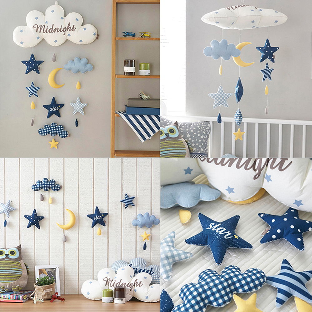 DIY Baby Bed Bell Toys Mum Handmade Star Moon Rocket Baby Rattles Crib Mobiles Holder Musical Box Infant Room Decorating Props