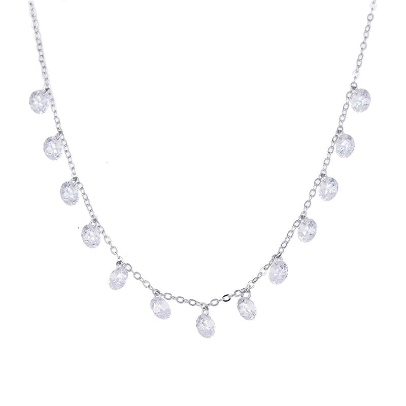 100% 925 sterling sølv mode skinnende zircon kvinder korte kæde halskæder damer `ncklace smykker bryllup gave fremme