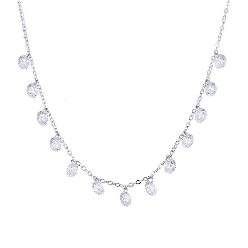 100% 925 sterling silver moda ladies'necklace brilhante zircon mulheres colares de cadeia curta jóias promoção presente de casamento