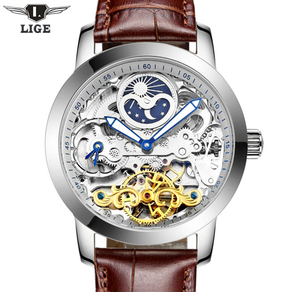LIGE Mens Watches Top Brand Luxury Automatic Mechanical flywheel Watch Fashion Luminous Clock leather strap Wristwatch men gift