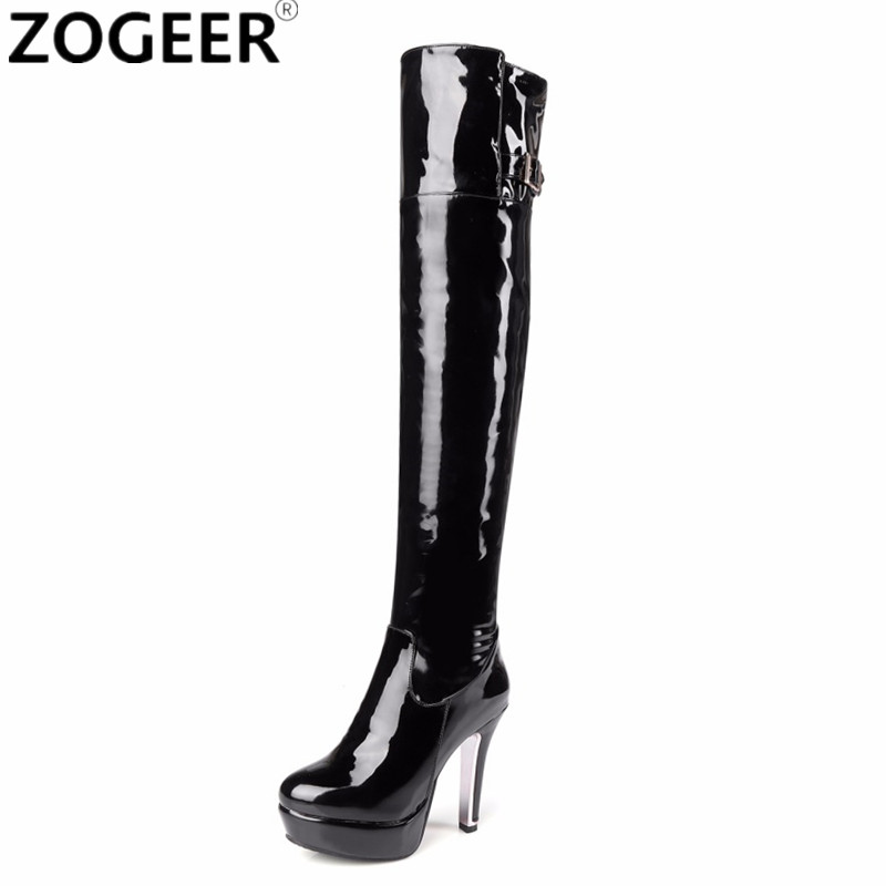 Plus size 48 Women Boots Patent Leather Over The Knee Boots For Women Black Red Sexy High Heels Platform Long Ladies Party Shoes women long boots stretch pu red black patent leather over the knee high sexy ladies party high heels platform shoes page 2