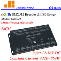Free Shipping 24 Channels DMX Controller Constant Current DMX Decoder And Led Driver 350mA 700mA Opt