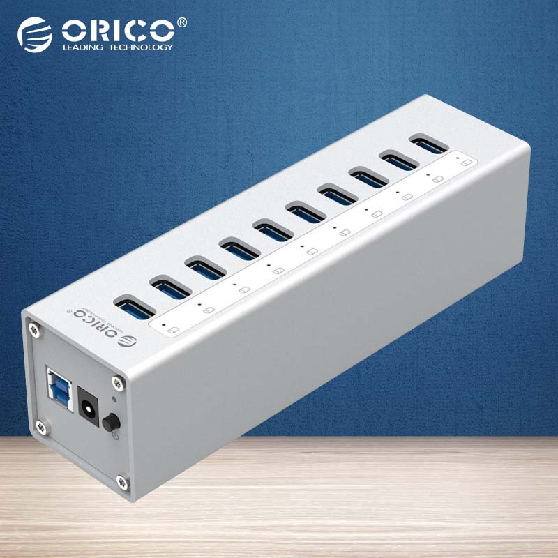 ORICO A3H10-SV Aluminum 10 Ports Multi USB3.0 HUB High Speed 5Gbps Splitter with Power Adapter-Silver/Black