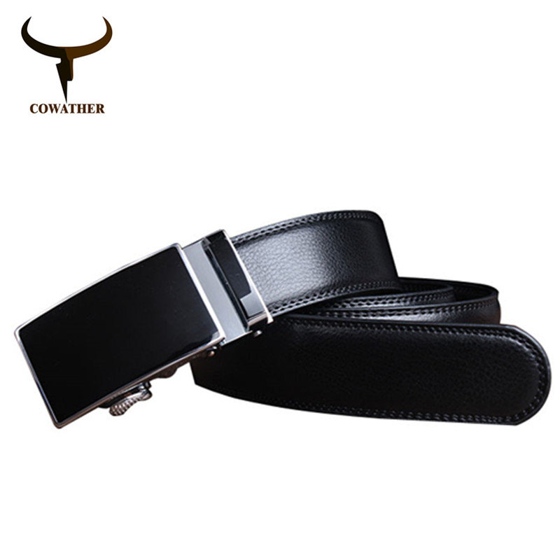 COWATHER 2019 White And Black Pure Color Cow Genuine Leather Belts For Men Sale Automatic Mens Belt Starp Sale Freeshipping