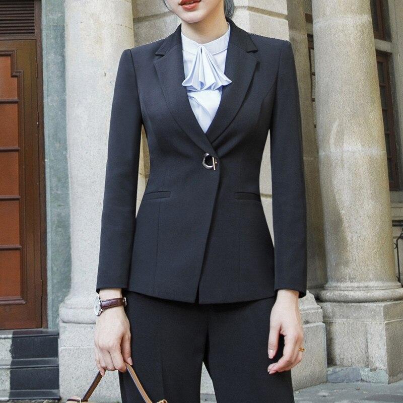 Moda negro blanco pantalones trajes mujeres 2019 nuevo formal negocios manga larga slim blazer y pantalones Oficina señoras ropa de trabajo-in Trajes de pantalón from Ropa de mujer    3