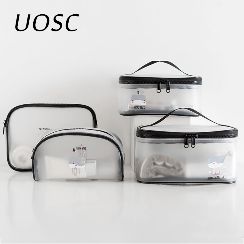 UOSC Waterproof Transparent Bath Cosmetic Bag Women Make Up Case Travel Zipper Makeup Beauty Wash Organizer Toiletry Storage Kit