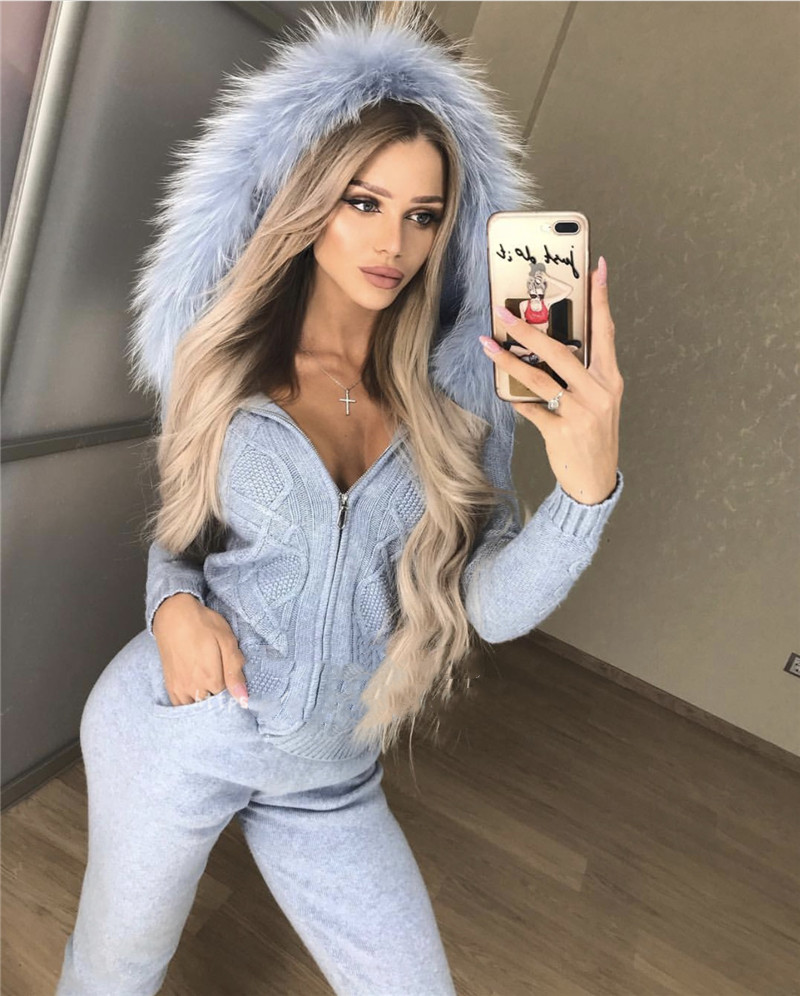 2018 Rushed Wool Winter New Cashmere Suit Fox Fur Hooded Cardigan Sweater Casual Trousers Two-piece Fashion Warm 2 Piece Woman thumbnail