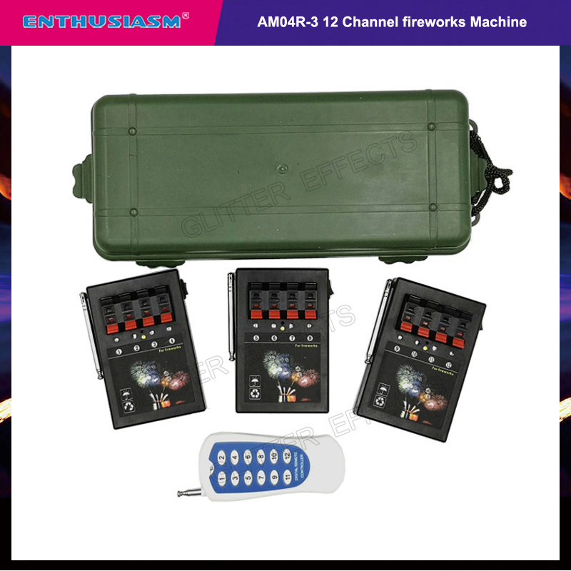 3 Receivers 4 Cues 12 Channel Remote AM04R-3 Stage Wedding Equipment Trigger Wireless Switch Led Cold Fire
