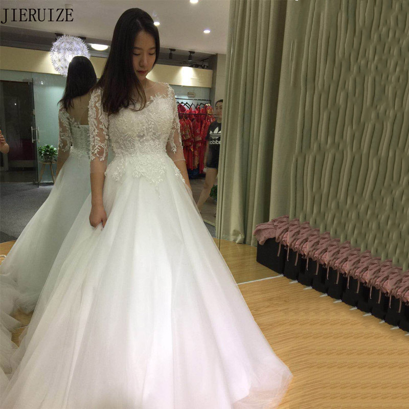 JIERUIZE White Vintage Lace Pearls Luxury Wedding Dresses