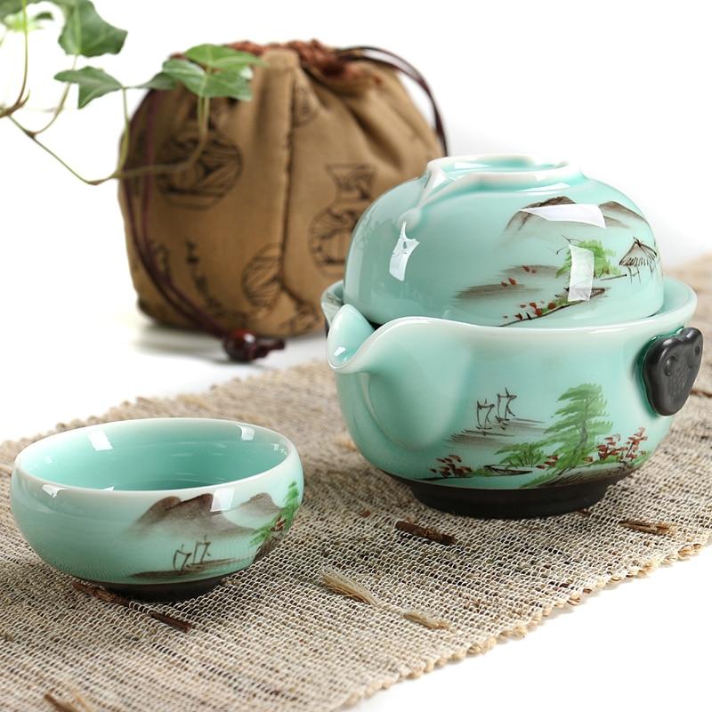 GRANDNESS Longquan Celadon Porcelain High quality elegant gaiwan handpainted Coffee Cup Kung Fu Tea set
