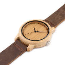 Luxury BOBO BIRD Bamboo Wood Watches for Men and Women Quartz Clock Fashion Casual Leather Strap Wrist Watch Male Relogio C-A15