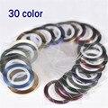 20 pacotes/lote Nova 30 Cores Rolls Striping Tape Metálico Prego etiqueta Da Arte Do Prego Decoração