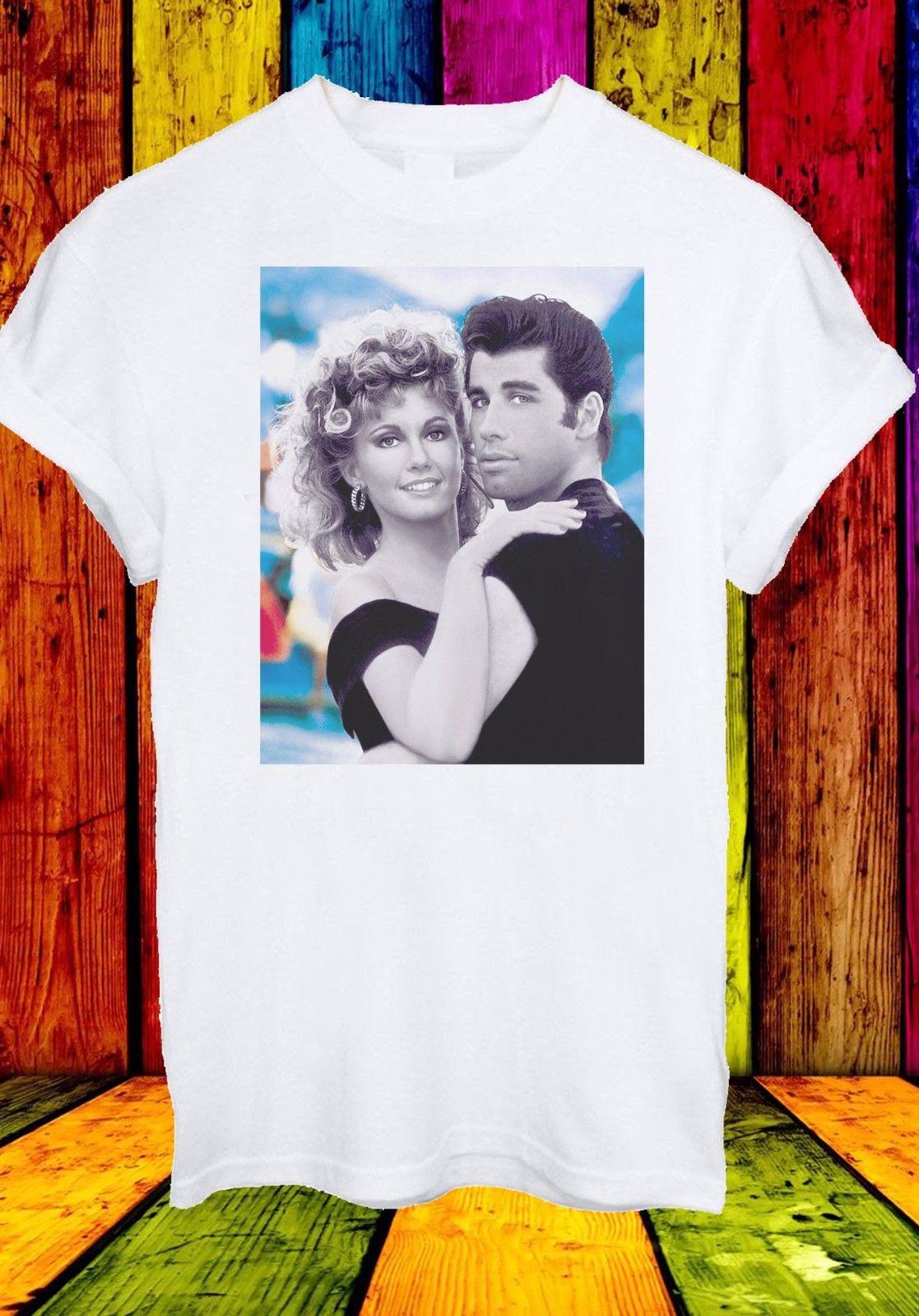 Gildan John Travolta and Olivia Newton-John Grease Movie Men Women Unisex T-shirt 230