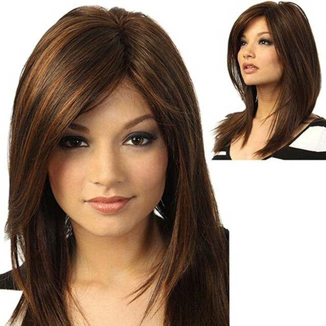 Short Straight Hair Wigs Women S Style Full Head Wig Heat Resistant  Synthetic Real Brown Girl Natural Party Wig 11.2 7665cfe03