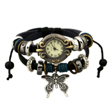 1pc ladies woman watches wrist clocks reward Cute Leather-based String Bead Butterfly Retro Elegant quartz Wristwatches Bracelet glass H5