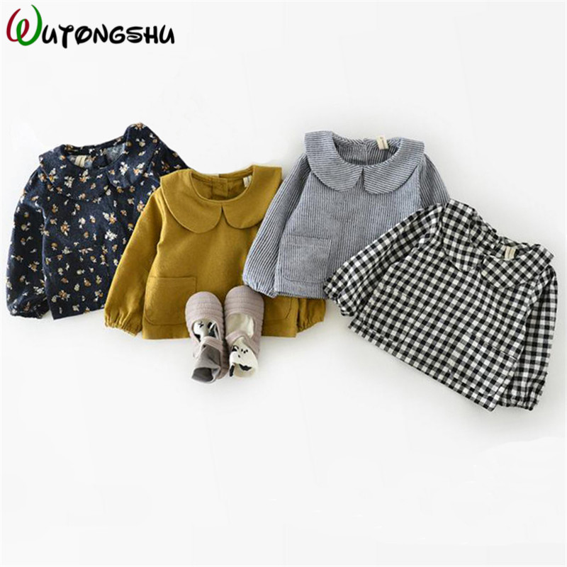 Korean Style Baby Children Girl Top Blouses Spring Autumn Cotton 0-2 Years Baby Jacket Girl Plaid Shirt Newborn Girls Blouses
