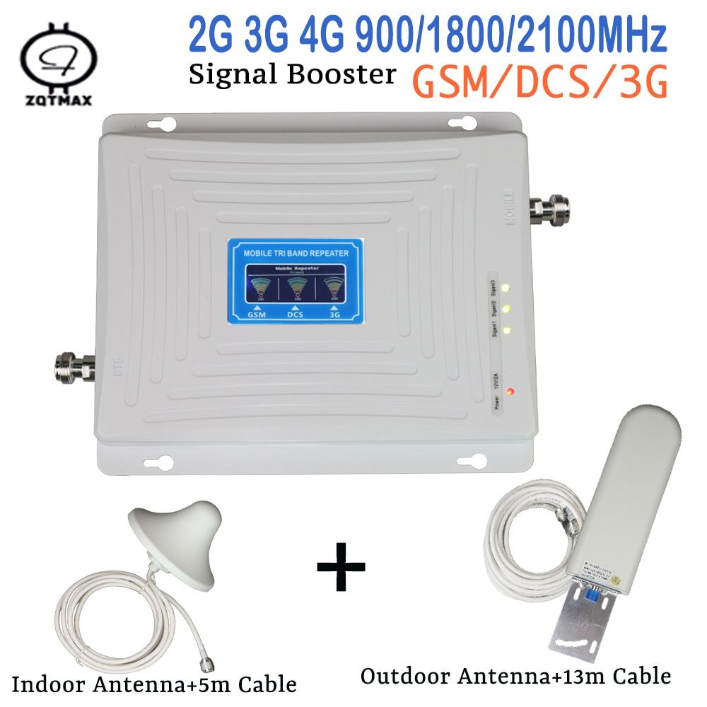 ZQTMAX 2g 3g 4g Antenna Tri Band Signal Booster 900 1800 2100 GSM WCDMA UMTS LTE Cellular Signal Amplifier Internet Cellular