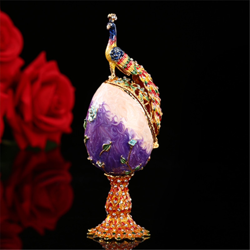 QIFU Vintage peacock metal crafts purple faberge russia eggs figurine jewelry box for gifts jewelry display