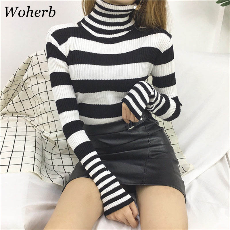 Woherb Casual Turtleneck Sweater Women Winter 2020 Knitted Pullover Korean Harajuku Striped Sweaters Pull Sueter Mujer 20105