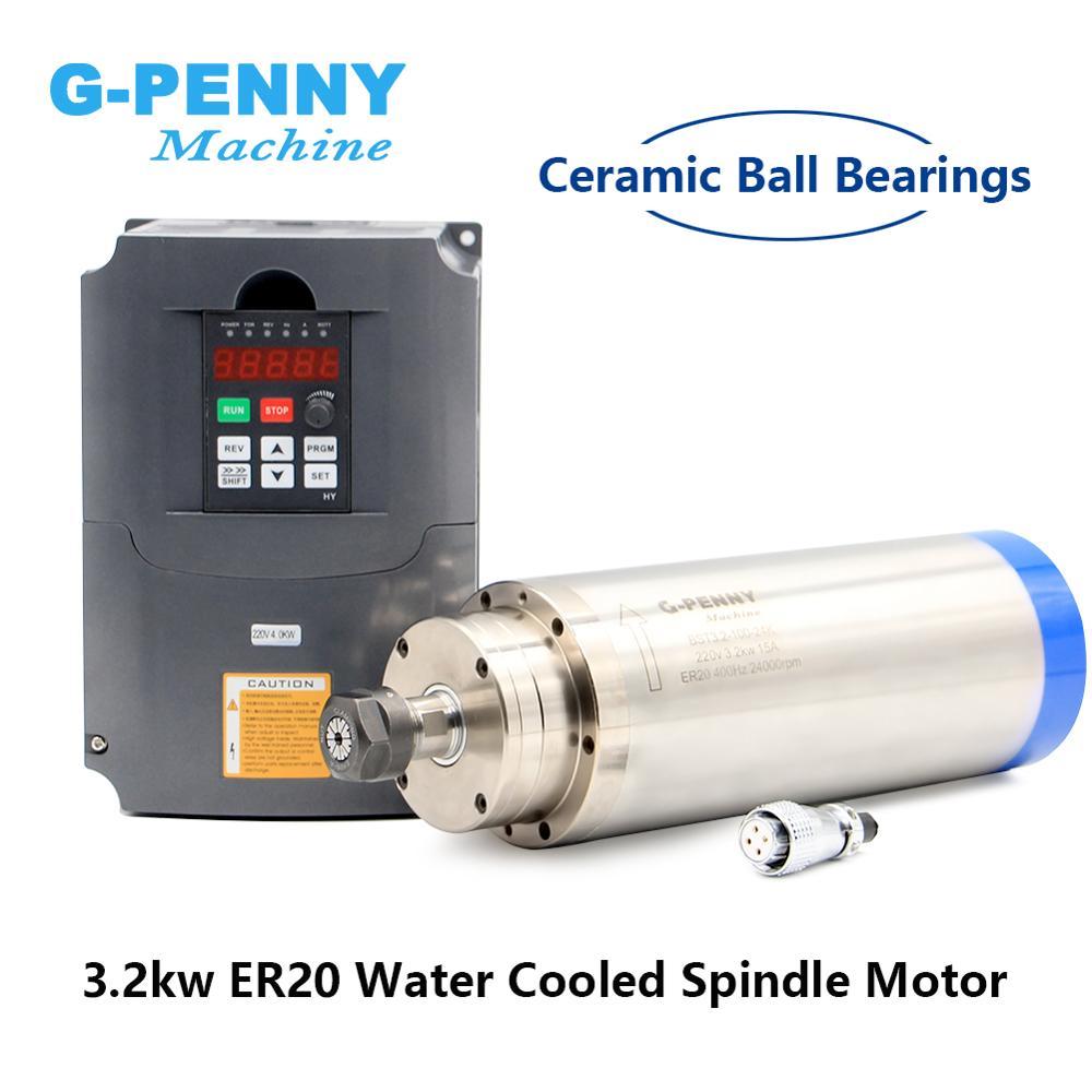 4 ER20 CNC Motor Spindle 3kw da água de arrefecimento do motor do eixo Rolamento & 4 kw VFD/inversor de freqüência variável motorista controle de velocidade