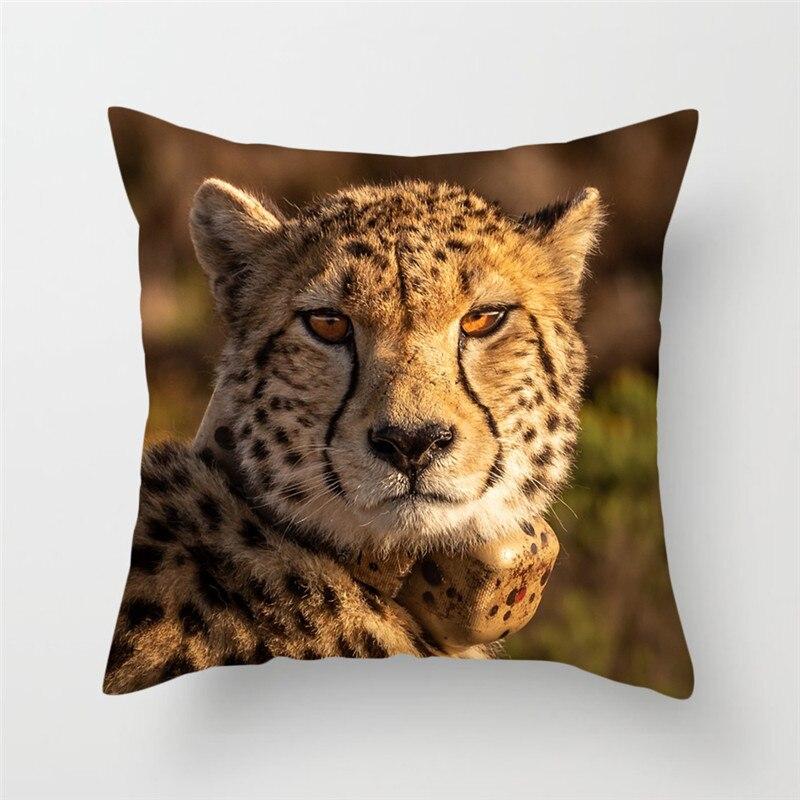 Fuwatacchi Animal sauvage housse de coussin léopard loup tigre imprimé taie d'oreiller pour la maison canapé décoratif oreillers taie d'oreiller