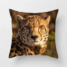 Fuwatacchi Wild Animal Cushion Cover Leopard Wolf Tiger Printed Pillow for Home Sofa Decorative Pillows Case Pillowcase