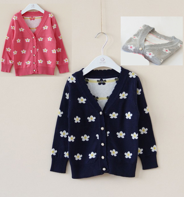 New 2014 Girls flower sweater cardigan sprting and autumn seatercoat children clothing free shipping