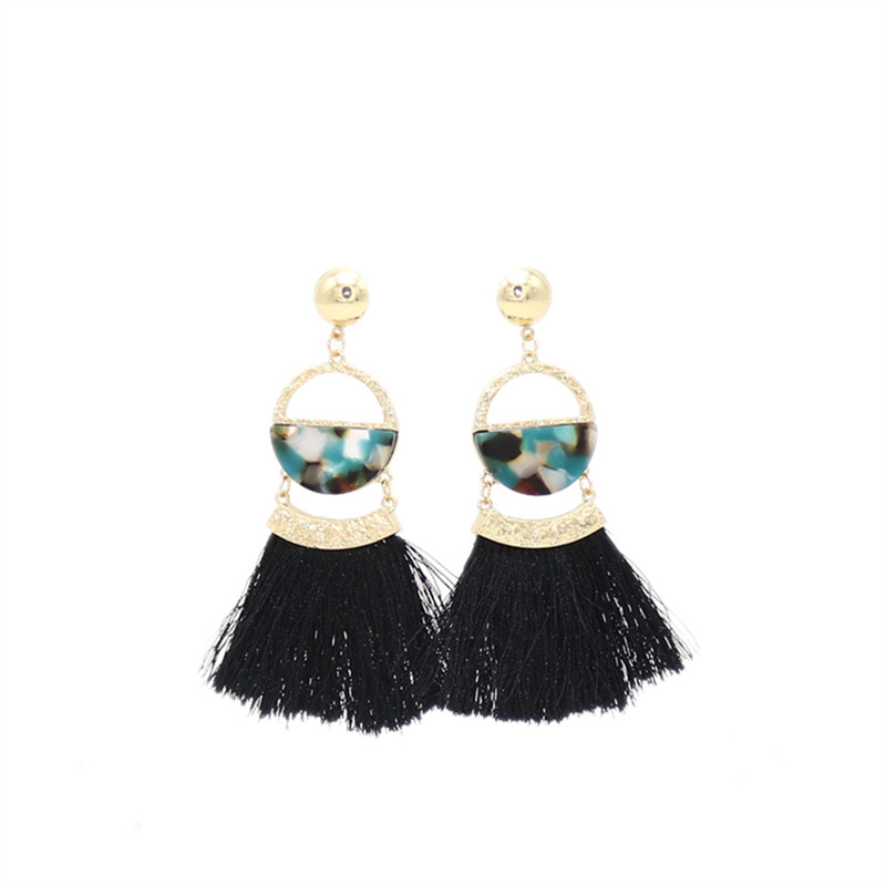 European  American style  Multicolor Exquisite wire tassels Semi-round acetate plate earrings Female Couple jewelry wholesale