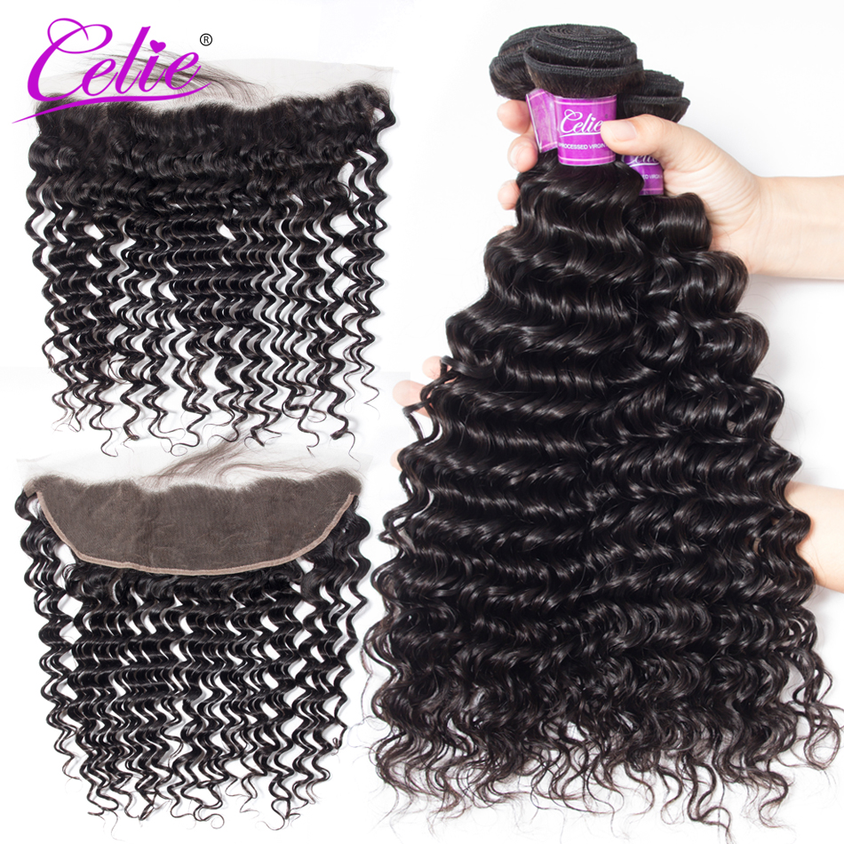 Celie Hair Brazilian Deep Wave Bundles With Frontal Remy Hair Lace Closure With Baby Hair 100% Human Hair Frontal With Bundles