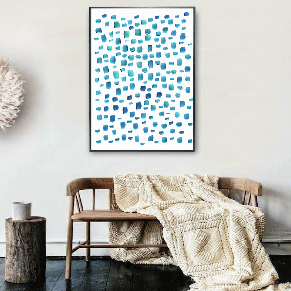 Nordic Wall Art Blue Abstract Point Canvas Painting Wall