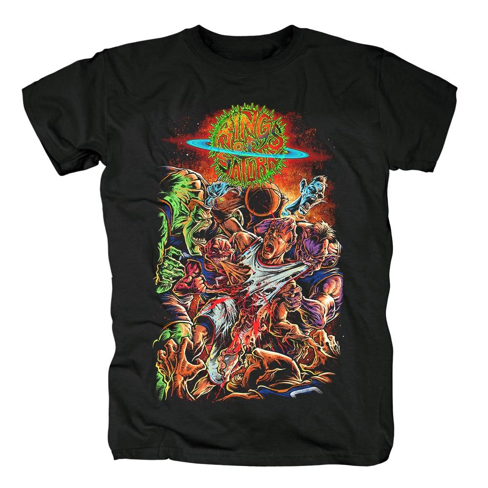 15 дизайнерских колец Сатурн инопланетянин группа рок брендовая рубашка Hardrock heavy thrash Metal deathcore хлопковая Футболка camiseta уличная одежда