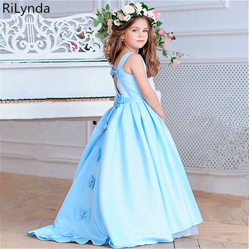 New Long Sleeve First   Flower     Girl     Dresses   O-neck with Bow Sash Ball Gowns Communion   Dresses   Custom Made Vestidos