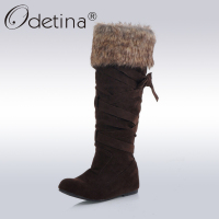 Odetina Brand Brown Knee High Suede Boots Large Size Height Increasing Boots For Women 2016 Fur