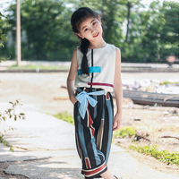 Girl's Summer 2018 New Arrival Western Style Two Piece sets Chiffon Leisure Children's Sleeveless clothes size 110 140 150 160