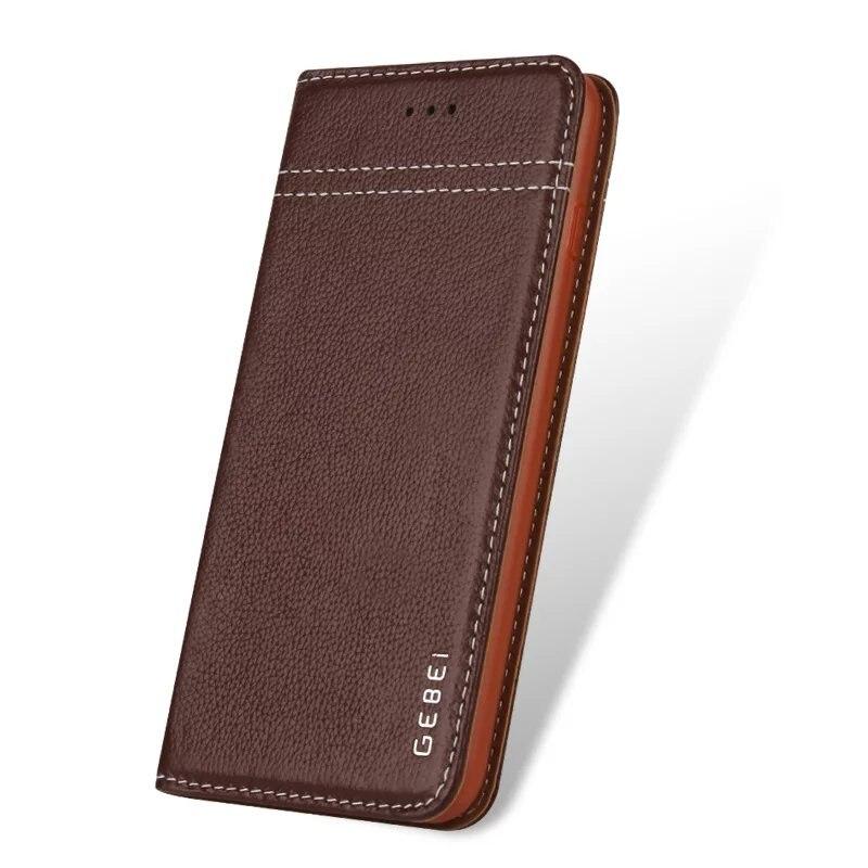 Luxury Original Brand GEBEI Genuine Leather Flip Unique Magnet Design Stand Case Cover For IPhone Xs Max 8 7 Plus 6 Plus