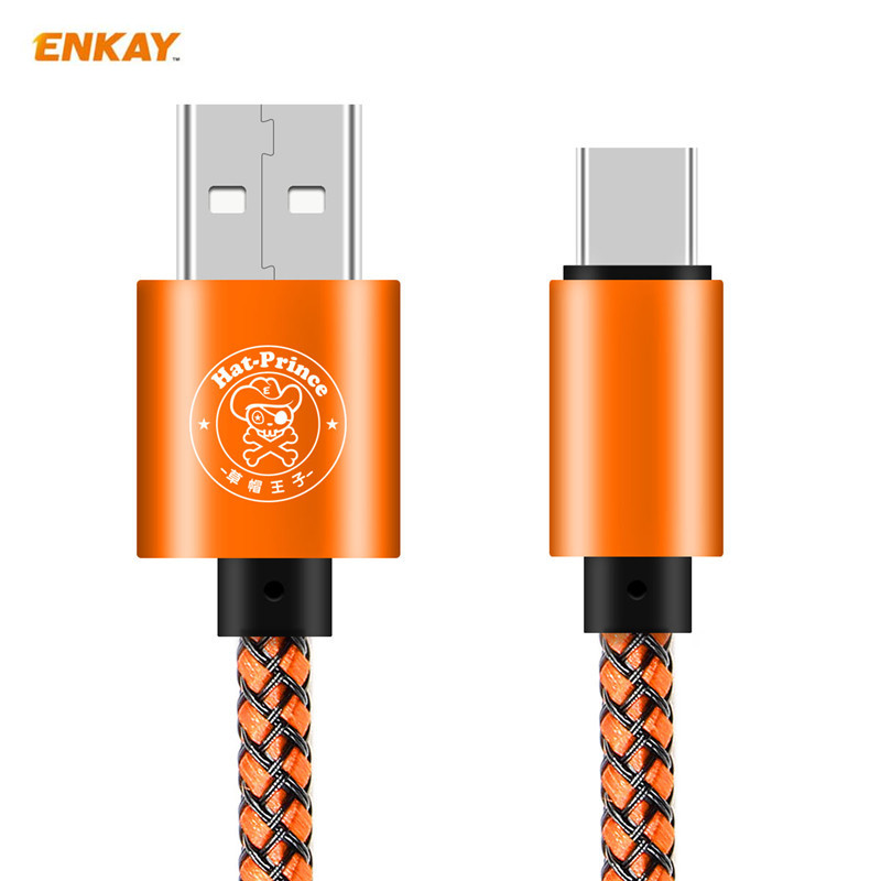 Hat Prince 104cm Nylon USB Type C 2A Fast Charging Cables Universal Multicolor data sync Type C USB Cable for samsung Xiaomi 5/6