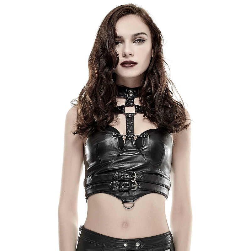 Punk Women Sexy Leather Vest with Adjustable Waist Belt Steampunk Summer Black Slim Fitting Sleeveless Tank Tops