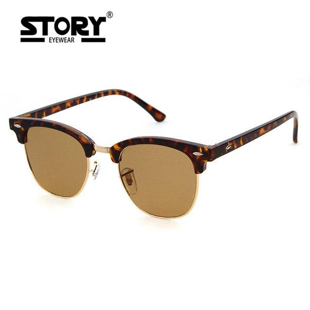 ab8e0af7ff Historia de moda estampado de leopardo Semi-sin montura gafas de sol de las  mujeres