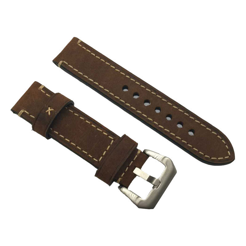 new strap 20MM 22MM 24MM 26MM genuine leather horse strap Suitable for Panerai watches band man Bold thicker watch straps black wholesale 10pcs lot 20mm 22mm 24mm 26mm genuine leather crazy horse leather watch band watch strap man watch straps black buckle