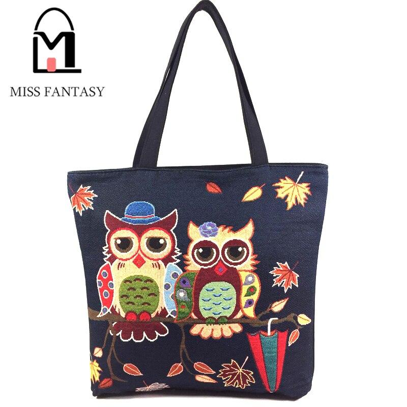 Fashion Women's Canvas Handbag Oil Painting Owl Printed  Beach Shopping Bags Black  Big Tote Bags Travel Shoulder Bags