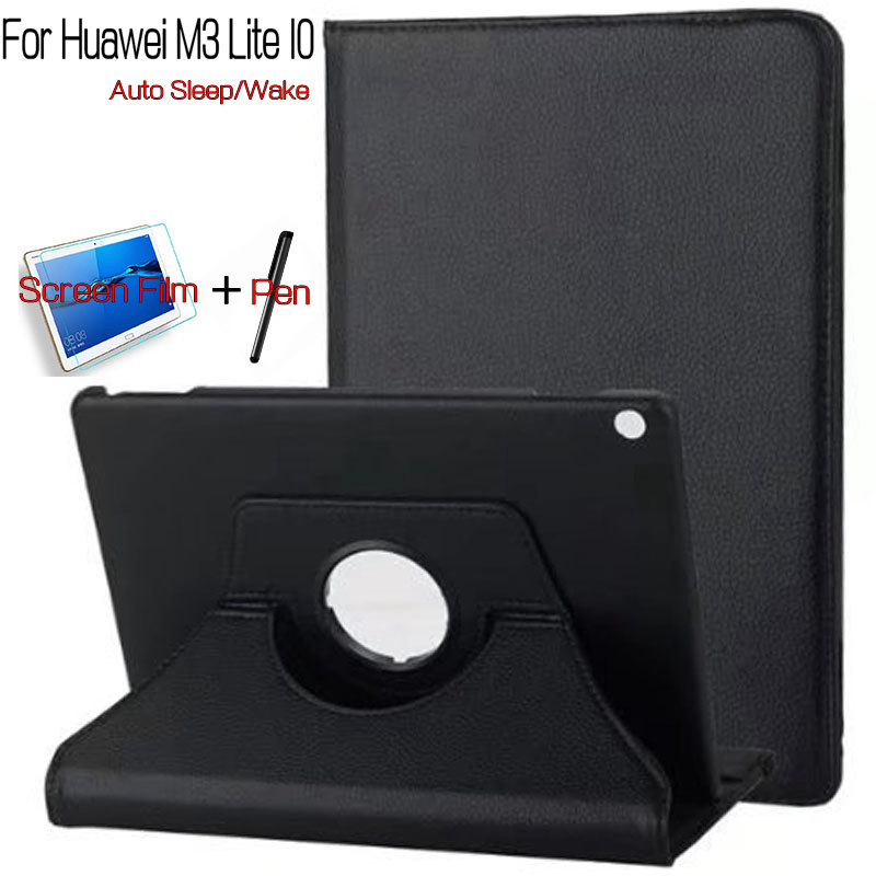 360 Degree Rotating Smart PU Leather Case for Huawei MediaPad M3 Lite 10.1 Tablet Funda Cover Shell+Free Screen Protector+Pen