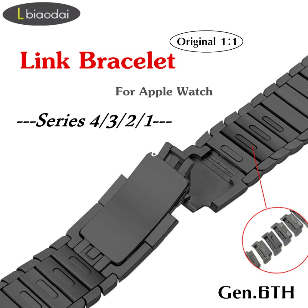 1:1 Cinghia Per Apple Orologio Link di fascia del braccialetto iwatch fascia di 4/3 42 millimetri 44 millimetri 38 millimetri 40 millimetri In Acciaio acciaio cinturino In Metallo Accessori